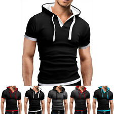 Mens Slim Fit Short Sleeve Shirts Hooded Tee Tops Sport Hoodies Casual T-shirt