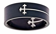 Laser Cut Surgical Grade Stainless Steel Black Plated Cross Cut Out Ring