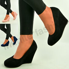 New Womens Ladies Wedges Platforms High Heel Pumps Casual Shoes Size Uk 3-8