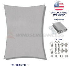 Rectangle Sun Shade Sail Gray Awning Cover Canopy Custom Size 5' to 24' W/8''Kit