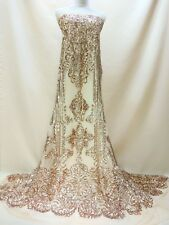 2017 Embroidery Sequin Mesh Lace Fabric Bridal Gowns Occasion Dress 51''/ Yard