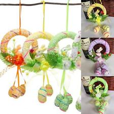 Spring Easter Holiday Bunny Floral Garland Wreath Door Wall Hanging Decoration