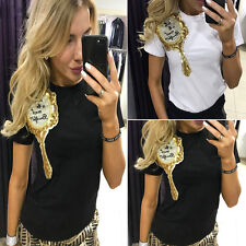 Women Casual Letter Print T-shirt Fashion Simple Top Summer Mirror Sexy Blouse H