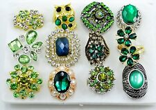 12 PC WHOLESALE Lot Green CHIC COCKTAIL COSTUME Fashion Jewelry RINGS#GR1