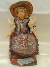 BEAUTIFUL VINTAGE DOLL WITH WOOD STAND CROSS NECKLACE HAND MADE CLOTHING
