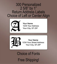 300 Personalized Printed Old English Gothic Monogram Return Address Labels