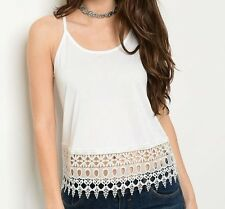 White Scoop Neck Racerback Tank, Cami Open Stitch Crochet Lace Panel Hem Fashion