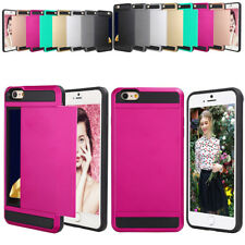 Hybrid Armour Hard Back Card Storage Slide Case Cover Holder For Apple iPhone