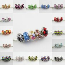 Fashion Murano Glass Lampwork Silver Big Hole Bead Fit European Charm Bracelet