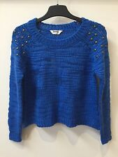 NEW EX BHS TAMMY GIRL CROP STUDDED SHOULDER JUMPER BRIGHT BLUE FOR GIRLS RRP £16