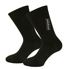 Solid Black Socks 12 Pairs mid. weight for Diabetics 85% Cotton non elastic band