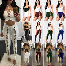 Womens Punk Rock Lace Up Legging Pants High Waisted Shorts Hollow Out Trousers