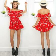 Womens Off Shoulder Floral Print Ruffle Jumpsuit Rompers Short Playsuit X8A9