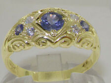 Solid 9K Yellow Gold Natural Tanzanite & Diamond Vintage Style Band Ring