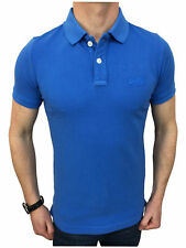 Superdry Mens Medium Vintage Destroyed Pique Polo Shirt in Lapis Blue
