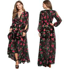 Women Maxi Dress Sheer Chiffon Floral V-Neck Elastic Waist Boho Long Dress N3R4