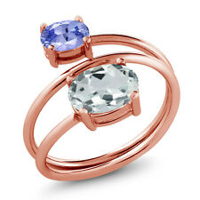 1.55 Ct Oval Sky Blue Aquamarine Blue Tanzanite 18K Rose Gold Plated Silver Ring