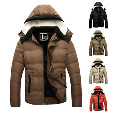 Mens Warm Slim Fit Coat Trench Hooded Casual Padded Jacket Tops Hoodies Outwear