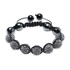 Bling Jewelry Crystal Shamballa Inspired 12mm Bracelet Hematite Beads
