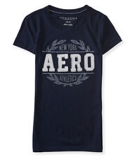 Aeropostale T-Shirt Womens Slim Fit Applique Logo Graphic Tee Top S M L Blue NWT