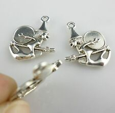 24/200pcs Witch Drum Tibetan Silver Charms Halloween Pendants Jewelry Findings