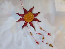 Red and yellow sun suncatcher with beads