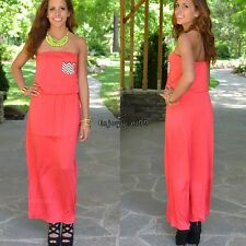 New Women Sexy Strapless Sleeveless Casual Party Long Dress OO5501