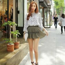 New Lady Women's Sweet Fashion Above Knee Short Culottes Elastic Pleated OO5501