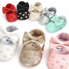 Toddler Girl Crib Shoes Baby Bowknot PU Leather Shoes Soft Sole Prewalker 0-18M