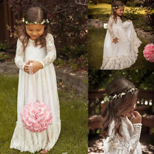 New White/Ivory Flower Girl Bridesmaid Dresses Long Sleeve Bow-knot Prom Gowns