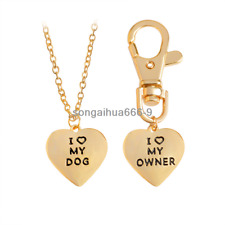 Fashion Simple Lettering I LOVE MY DOG/OWNER Pendants Heart Necklace Family Gift