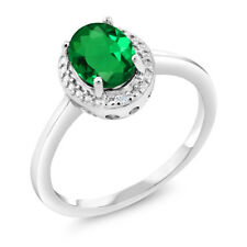 1.01 Ct Oval Green Simulated Emerald White Diamond 925 Sterling Silver Ring
