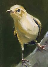 ACEO Original Oil Painting, ACEO Bird, Warbler by Gary Bruton