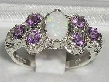 Solid English 925 Sterling Silver Ladies Large Opal & Amethyst Art Nouveau Ring