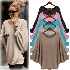 New Women's Long Batwing Sleeve Pullover Sweater Shirt Loose Blouse Jumper Tops