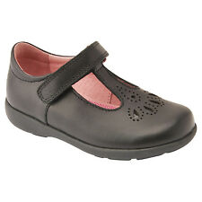 GIRLS SMART START-RITE DAISY MAY BLACK LEATHER SCHOOL SHOES SIZES 7-8.5 F G FREE