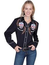 Scully Western Womens Shirt Long Sleeve Embroidered Skull Snap Black PL-857