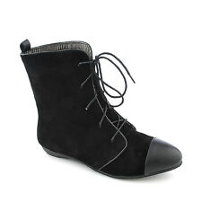 Bamboo Womens Zoria Black Low Heel Ankle Boots