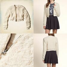 Abercrombie & Fitch - Hollister Womens Cropped Sherpa Jacket M or L Cream NWT