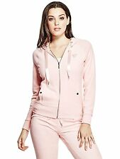 Guess Womens Lark Stretch Velour Hoodie Track Jacket Sweater S or M Pink NWT