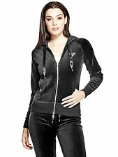 Guess Womens Lark Stretch Velour Hoodie Track Jacket Sweater S or L Black NWT