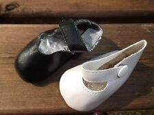 VINYL DOLL SHOES IN BLACK OR WHITE WITH STRAP FASTENING