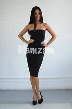 New womens ladies black strapless bodycon boobtube wiggle party dress size 8 16