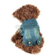 Dog Clothing Fashion Puppy Teddy Blue Jeans Jacket Vest Pet Apparel Lapel Coat