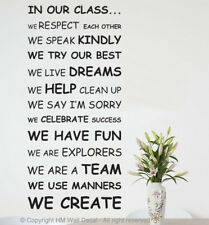 NEW Class Rule Wall Quote Decal for School