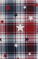 Americana Patriotic Plaid Vinyl Flannel Back Tablecloth Various Sizes