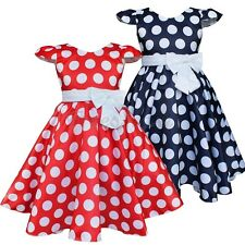 Lovely Kid Girls Cap Sleeve Dress Polka Dot A Line Pleated Summer Party Dresses