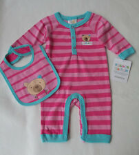 ABSORBA INFANT  1 piece  FOOTLESS STRIPED PLAYSUIT SLEEPER and BIB SET (pink)