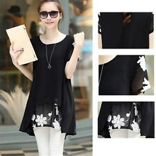 Blouse Printed Sleeve Pullovers Loose Short Fashion Floral Tunic Summer Chiffon