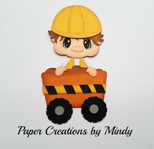 Craftecafe Mindy Construction Road work boy premade paper piecing scrapbook page